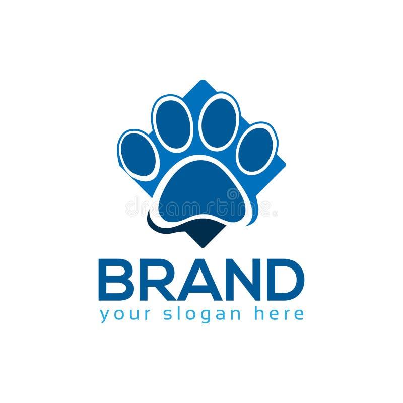 Patas azuis do cão, vetor do logotipo ilustração do vetor
