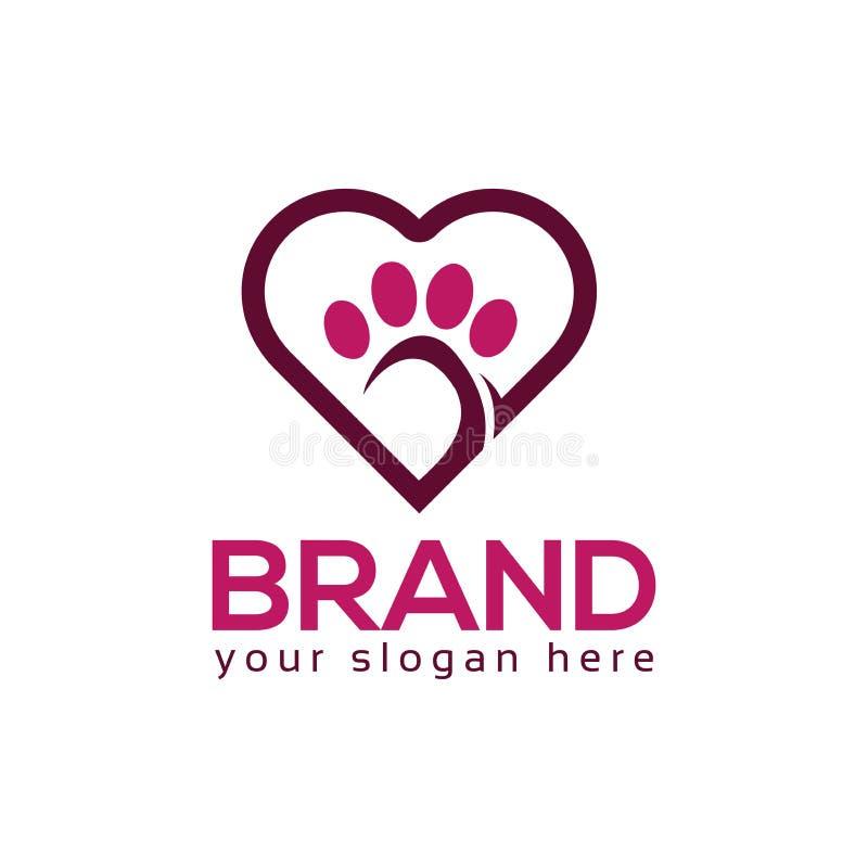 Patas do cão com ícone do coração Vetor do logotipo ilustração royalty free
