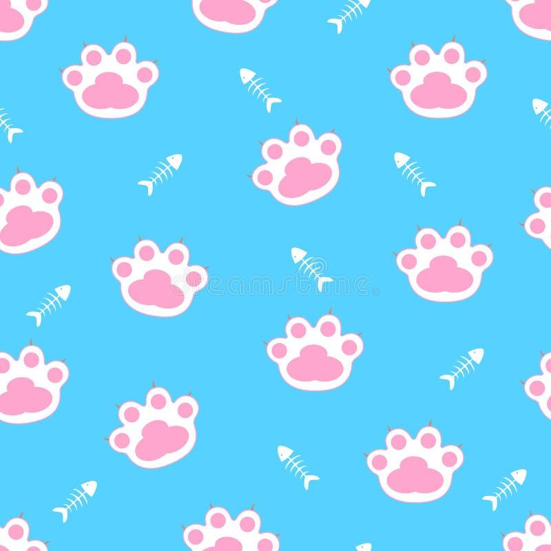 Patas do gato Vetor Teste padrão sem emenda Fundo para um cartão do convite ou umas felicitações ilustração royalty free