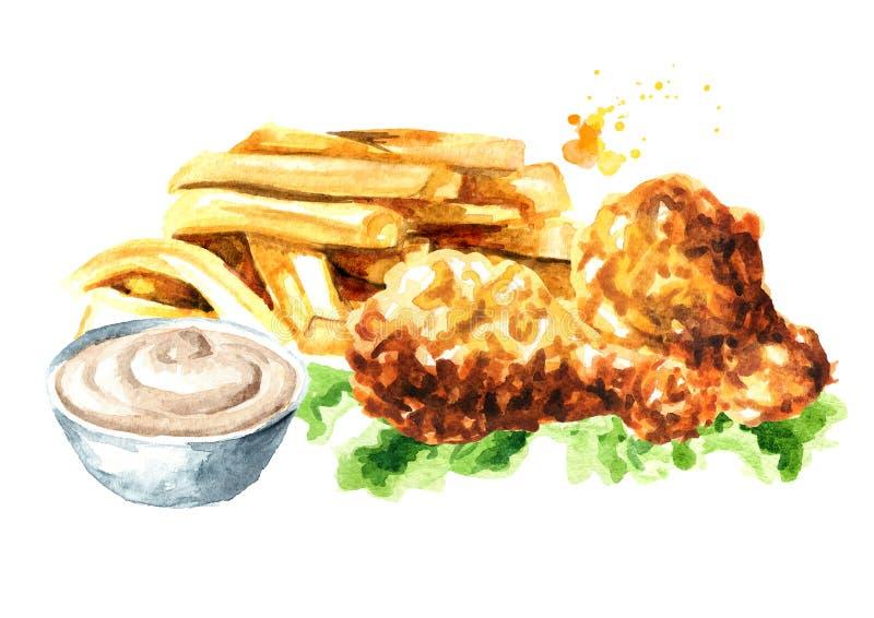 Patata curruscante del palillo del pollo frito y de las patatas fritas con la salsa Ejemplo dibujado mano de la acuarela, aislado libre illustration