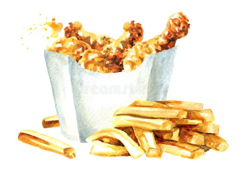 Patata curruscante del palillo del pollo frito y de las patatas fritas Ejemplo dibujado mano de la acuarela aislado en el fondo b libre illustration