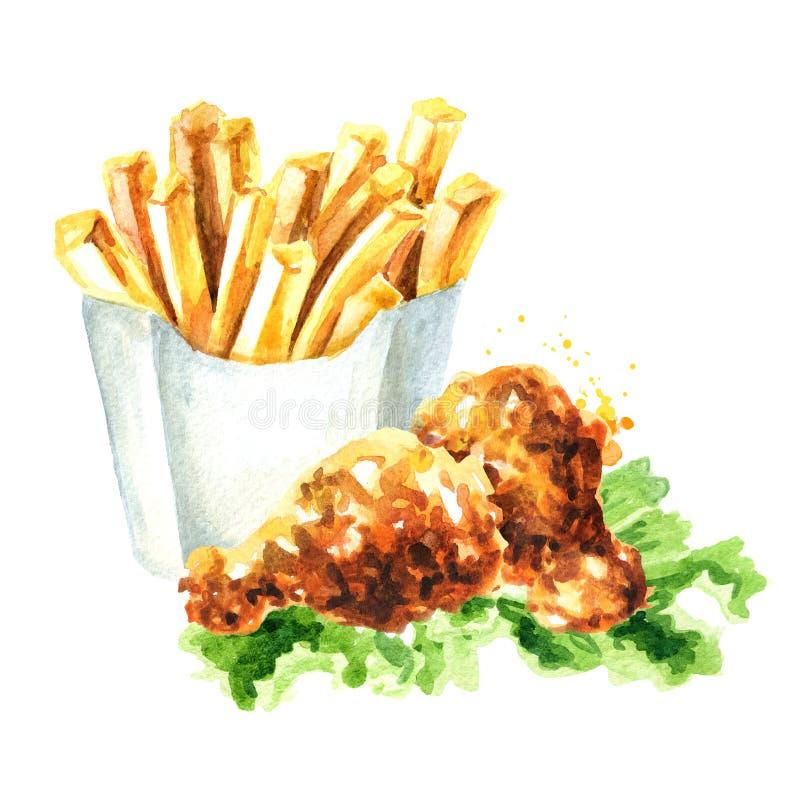 Patata curruscante del palillo del pollo frito y de las patatas fritas Ejemplo dibujado mano de la acuarela, aislado en el fondo  ilustración del vector