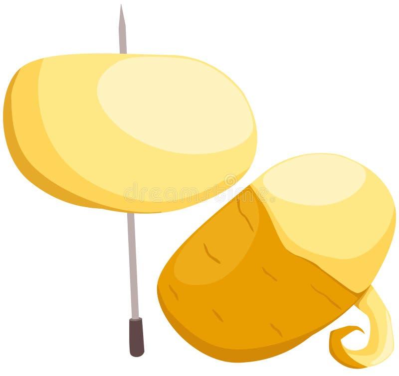 Patata dulce en el pincho ilustración del vector