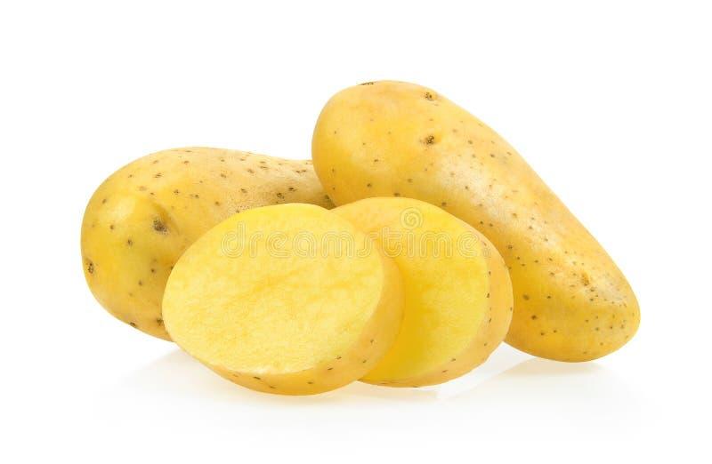Patata en el fondo blanco imagenes de archivo