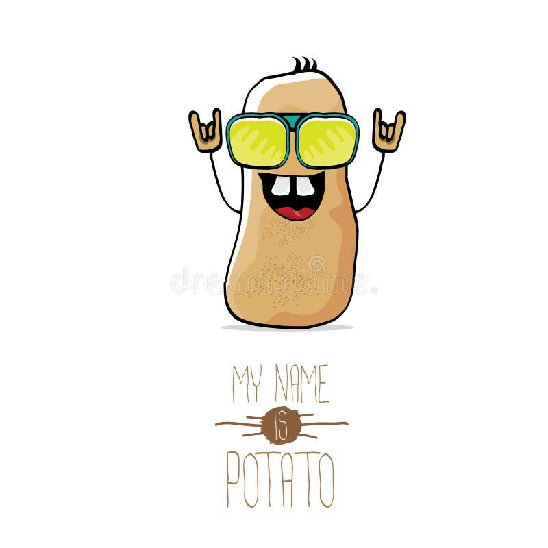 Patata marrón linda de la historieta divertida del vector stock de ilustración