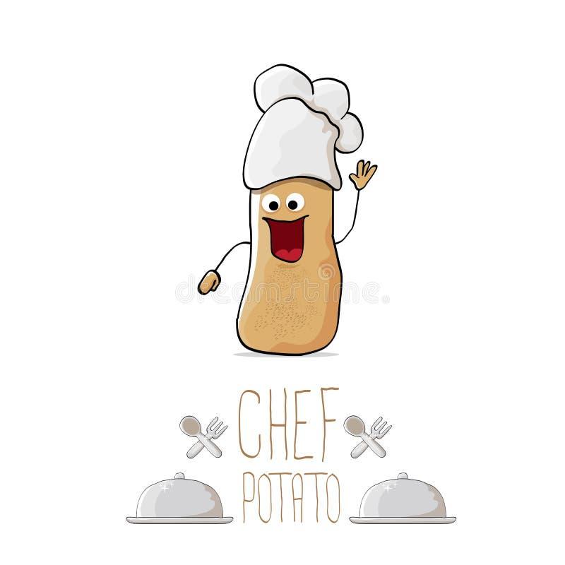 Patata marrón linda del cocinero de la historieta divertida del vector ilustración del vector