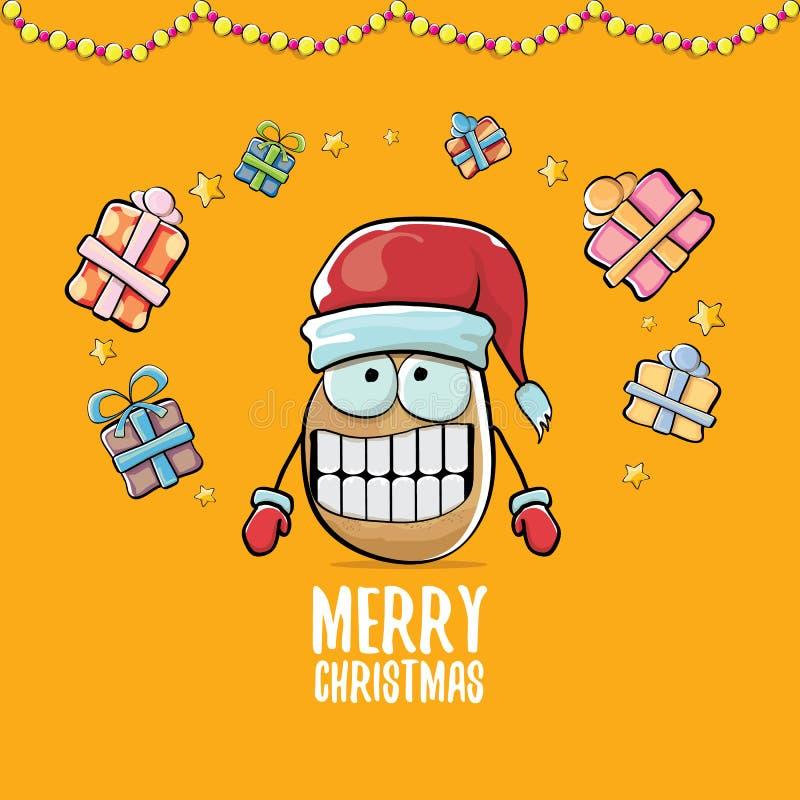 Patata sonriente marrón linda de Papá Noel de la historieta cómica enrrollada del vector con el sombrero rojo de santa, los regal ilustración del vector