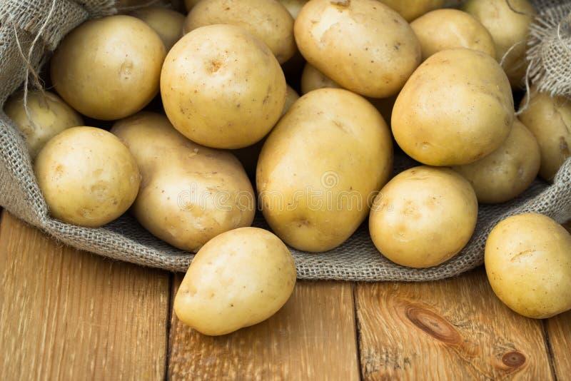 Patatas amarillas jovenes a bordo fotografía de archivo