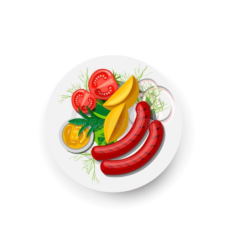 Patatas con las verduras y la salchicha en el icono de la placa, aislado en el fondo blanco Salchichas asadas a la parrilla, verd ilustración del vector