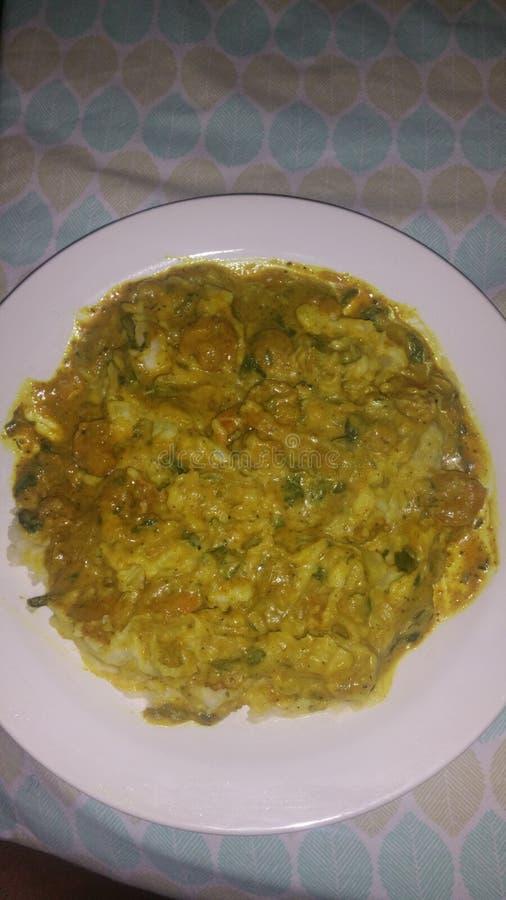 Patatas de la placa del coco del curry del camarón imágenes de archivo libres de regalías