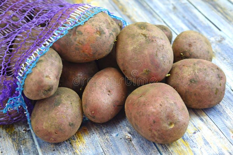 Patatas frescas en una rejilla imagen de archivo