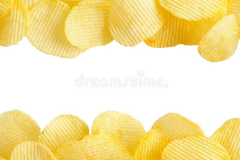 Patatas fritas aisladas en el fondo blanco con la trayectoria de recortes imágenes de archivo libres de regalías