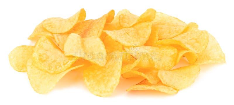 Patatas fritas aisladas en el fondo blanco imagenes de archivo