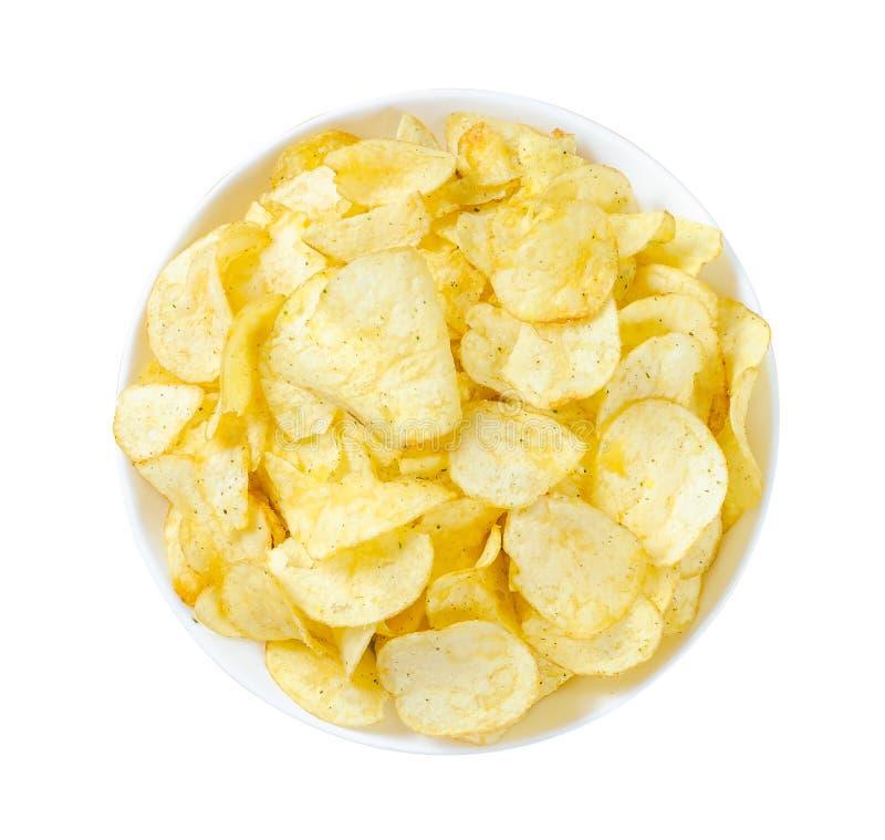 Patatas fritas aisladas en el fondo blanco imagen de archivo