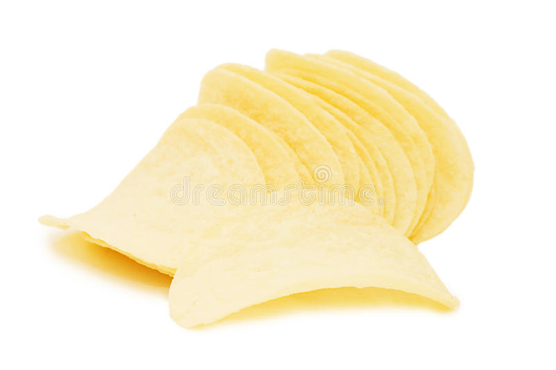 Patatas fritas aisladas sobre blanco imagenes de archivo