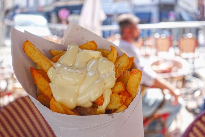 Patatas fritas belgas con mayonesa imagen de archivo