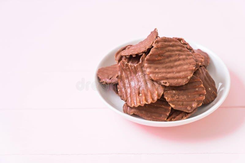 patatas fritas con el chocolate fotografía de archivo