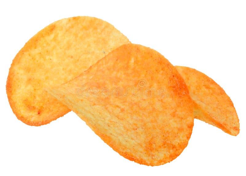 Patatas fritas con el primer de las especias aislado foto de archivo libre de regalías