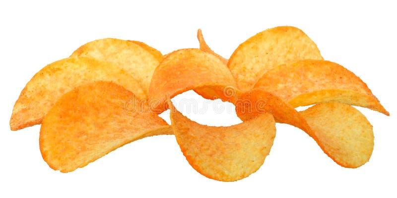 Patatas fritas con las especias aisladas fotografía de archivo