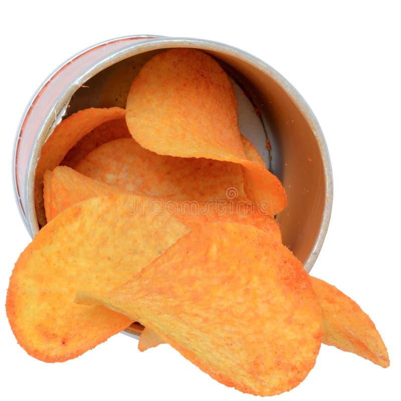 Patatas fritas con las especias en un tarro fotos de archivo