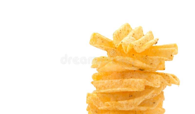 Patatas fritas en blanco imagen de archivo