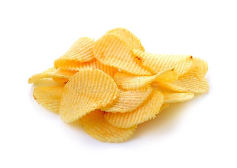 Patatas fritas en el fondo blanco fotografía de archivo