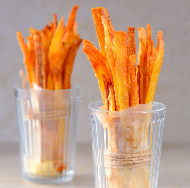 Patatas fritas o fritadas de la patata imagen de archivo libre de regalías