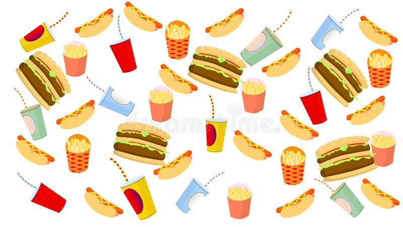 Patatas fritas, perrito caliente, hamburguesa y bebida en el fondo blanco stock de ilustración