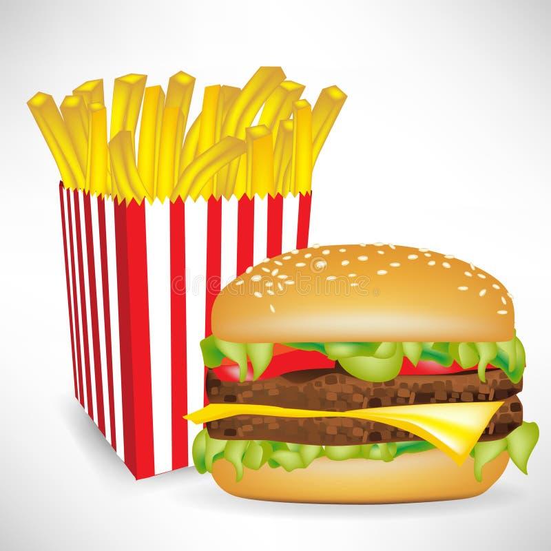 Patatas fritas porción y hamburguesa de los alimentos de preparación rápida ilustración del vector