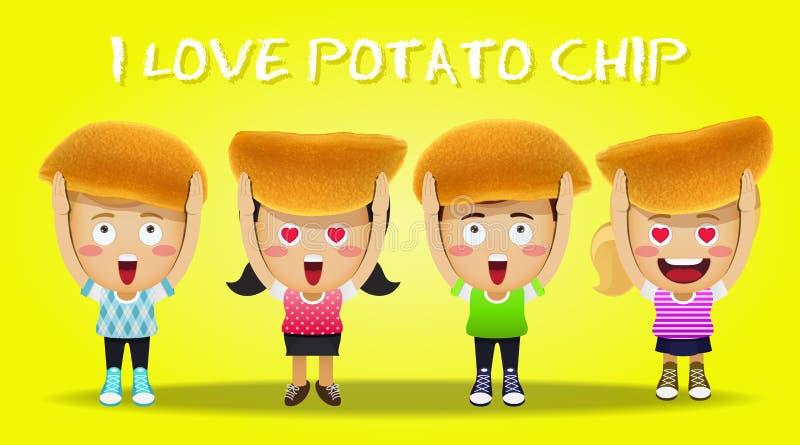 Patatas fritas que llevan de la gente feliz stock de ilustración