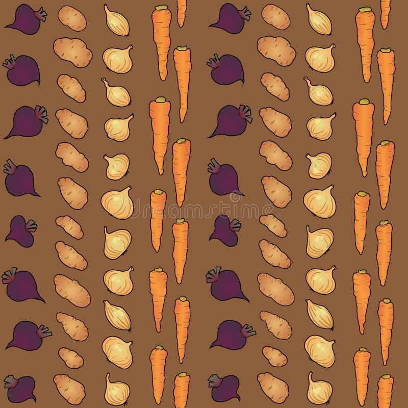 Patatas zanahoria de las remolachas y modelo inconsútil de la cebolla stock de ilustración