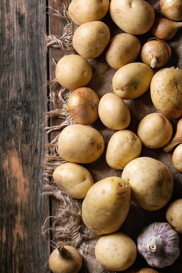 Patate e cipolla organiche crude fotografia stock