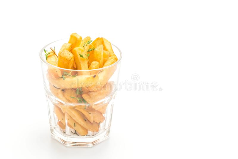 Patate fritte con salsa fotografie stock