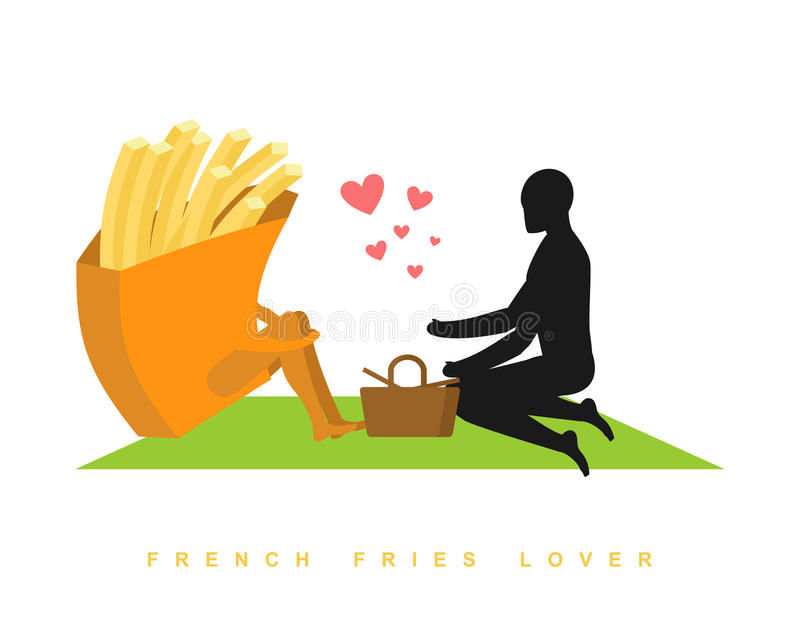 Patate fritte dell'amante Alimenti a rapida preparazione al picnic Appuntamento in parco Fas illustrazione di stock