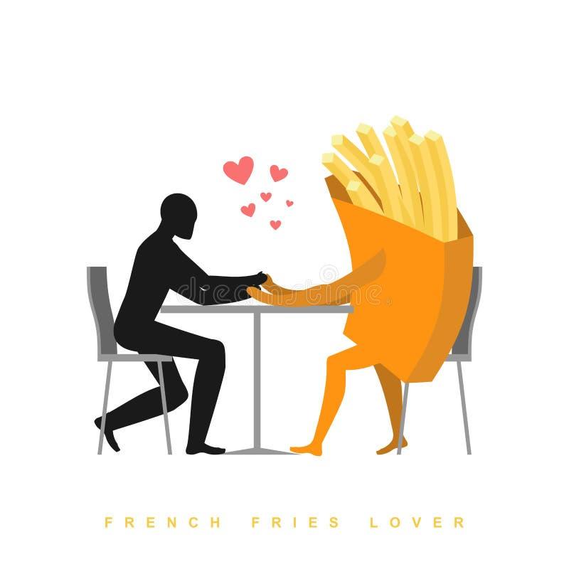 Patate fritte dell'amante in caffè Uomo ed alimenti a rapida preparazione che si siedono alla tavola royalty illustrazione gratis