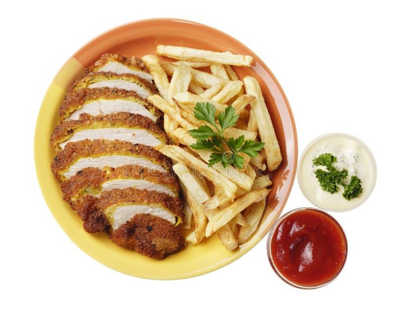 Patate fritte e pollo sul bianco fotografia stock libera da diritti
