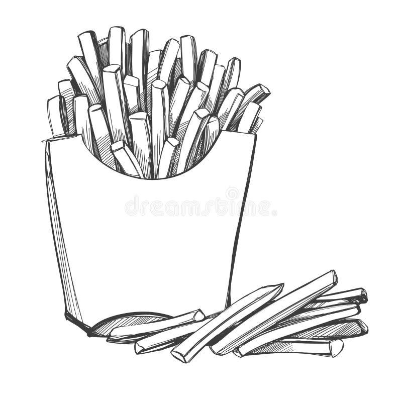 Patate fritte, pasto rapido, logo, schizzo realistico dell'illustrazione disegnata a mano di vettore illustrazione vettoriale