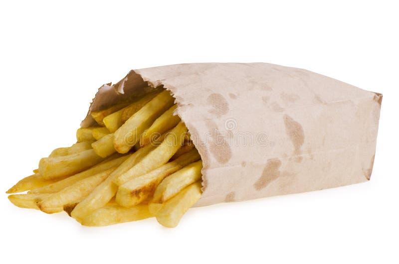 Patate fritte in sacco di carta fotografie stock libere da diritti
