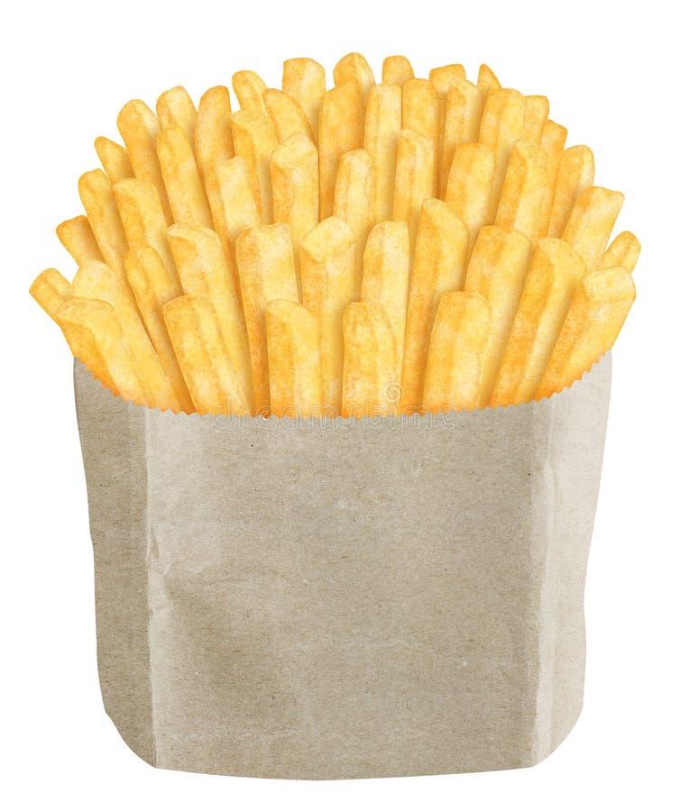 Patate fritte in sacco di carta marrone fotografia stock