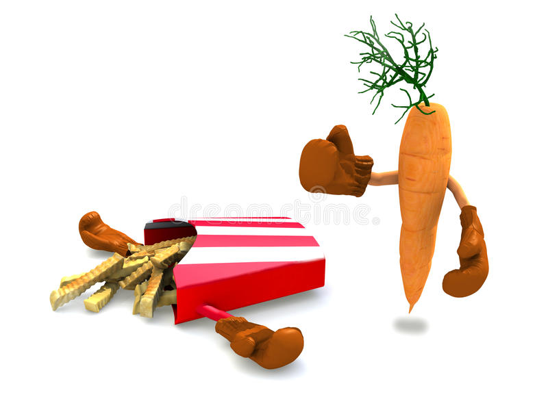 Download Patatine Fritte E Carota Che Combattono Illustrazione di Stock - Illustrazione di fritto, difettoso: 28160510