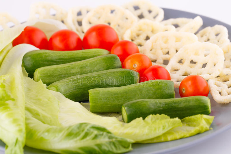 Patatine fritte e verdure immagine stock