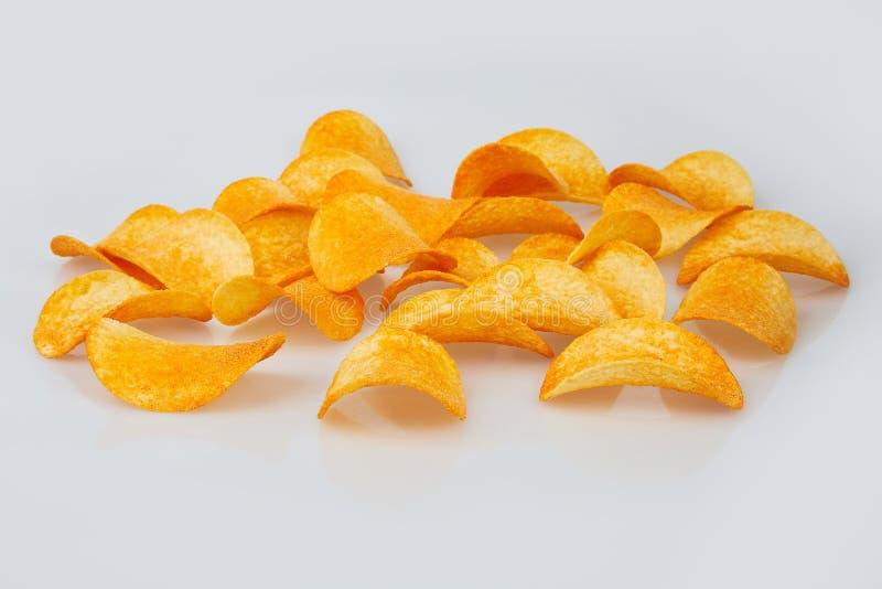 Patatine fritte isolate su priorit? bassa bianca fotografia stock