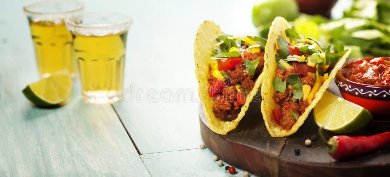 Patatine fritte messicane e taci dei nacho con carne, i fagioli e la salsa fotografia stock libera da diritti