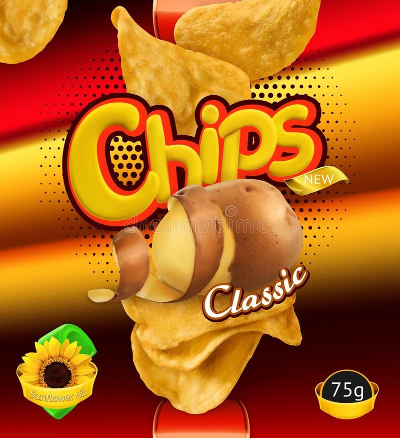 Patatine fritte Progettazione che imballa, modello di vettore illustrazione di stock