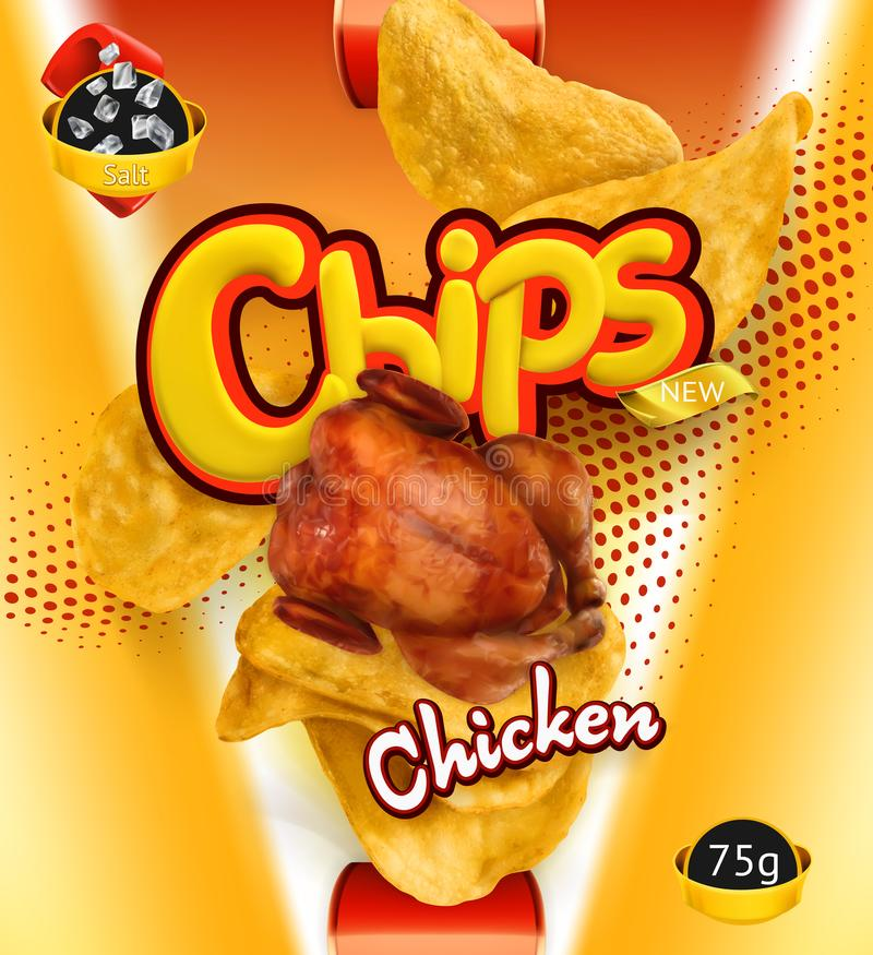 Patatine fritte Sapore del pollo Progettazione che imballa, modello di vettore royalty illustrazione gratis