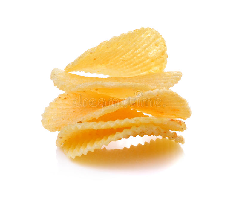Patatine fritte su priorità bassa bianca immagine stock