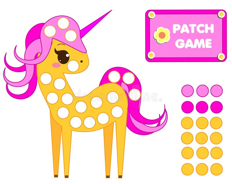 Patch game rainbow for children. Educational activity for kids and toddlers. Cute unicorn vector illustration