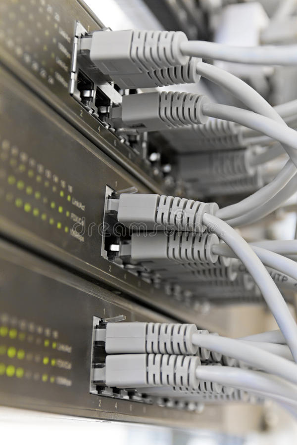 Patch Panel server rack with gray cords stock image