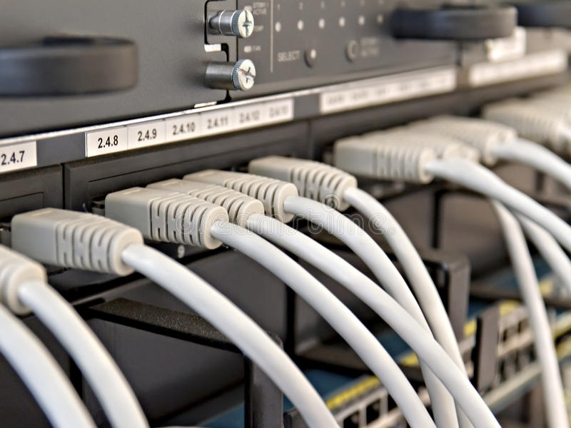 Patch Panel server rack with gray cords royalty free stock images