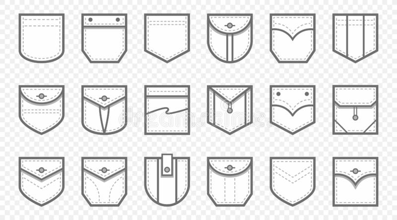 Patch pocket. Uniform clothes pockets patches with seam, patched denim pocket line icon vector set stock illustration